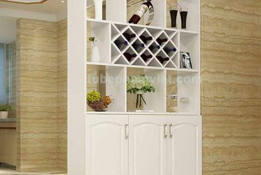 Tủ rượu gỗ sồi sơn trắng thiết kế phong cách trưng bày phòng khách đẹp