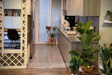 Thi công mẫu tủ bếp vân gỗ Laminate nhỏ sang trọng cho căn hộ