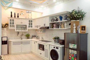 Mẫu tủ bếp gỗ sồi trắng thi công theo phong cách vintage cực đẹp