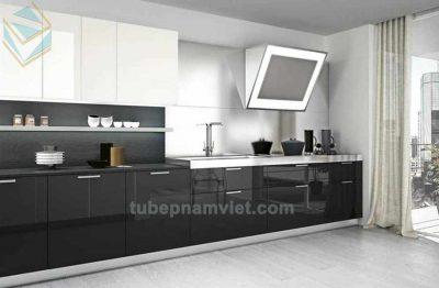 mẫu tủ bếp gỗ acrylic an cường tông trắng đen sang trọng nhất 2020