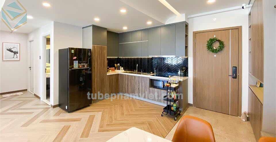 tủ bếp gỗ melamine tông xám xanh đẹp lạ 2020