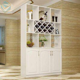 tủ rượu gỗ sồi sơn trắng đẹp