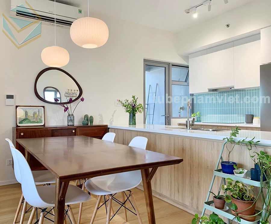 thiết kế tủ bếp gỗ công nghiệp đẹp có bàn đảo đẹp nhẹ nhàng tinh giản