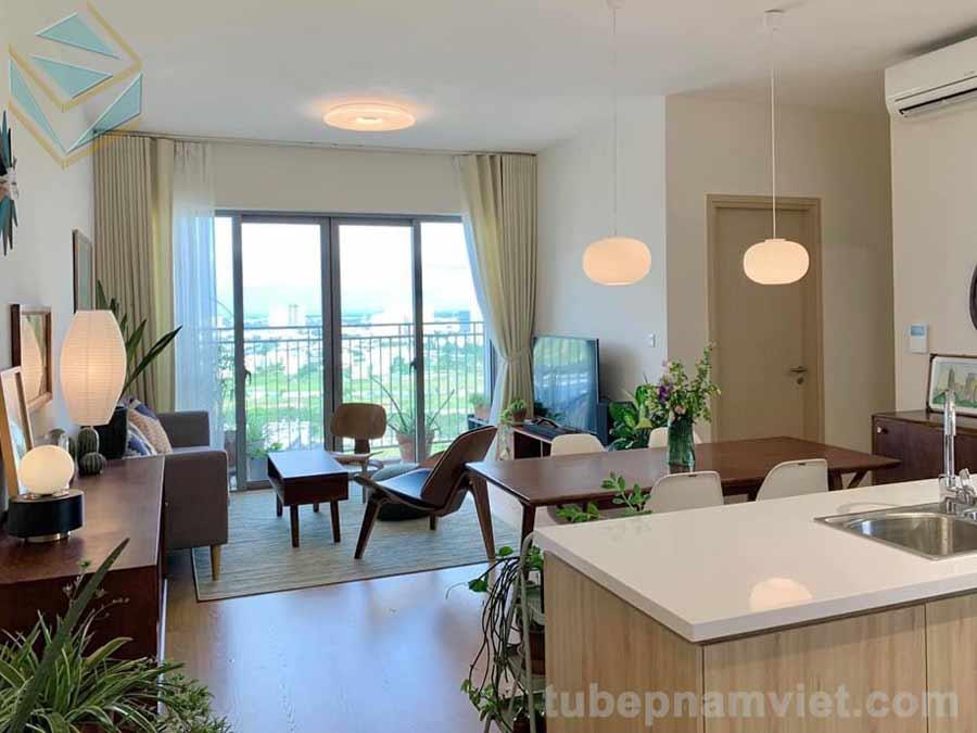 tủ bếp gỗ Melamine đẹp có view ra phòng khách từ bàn đảo khá đẹp