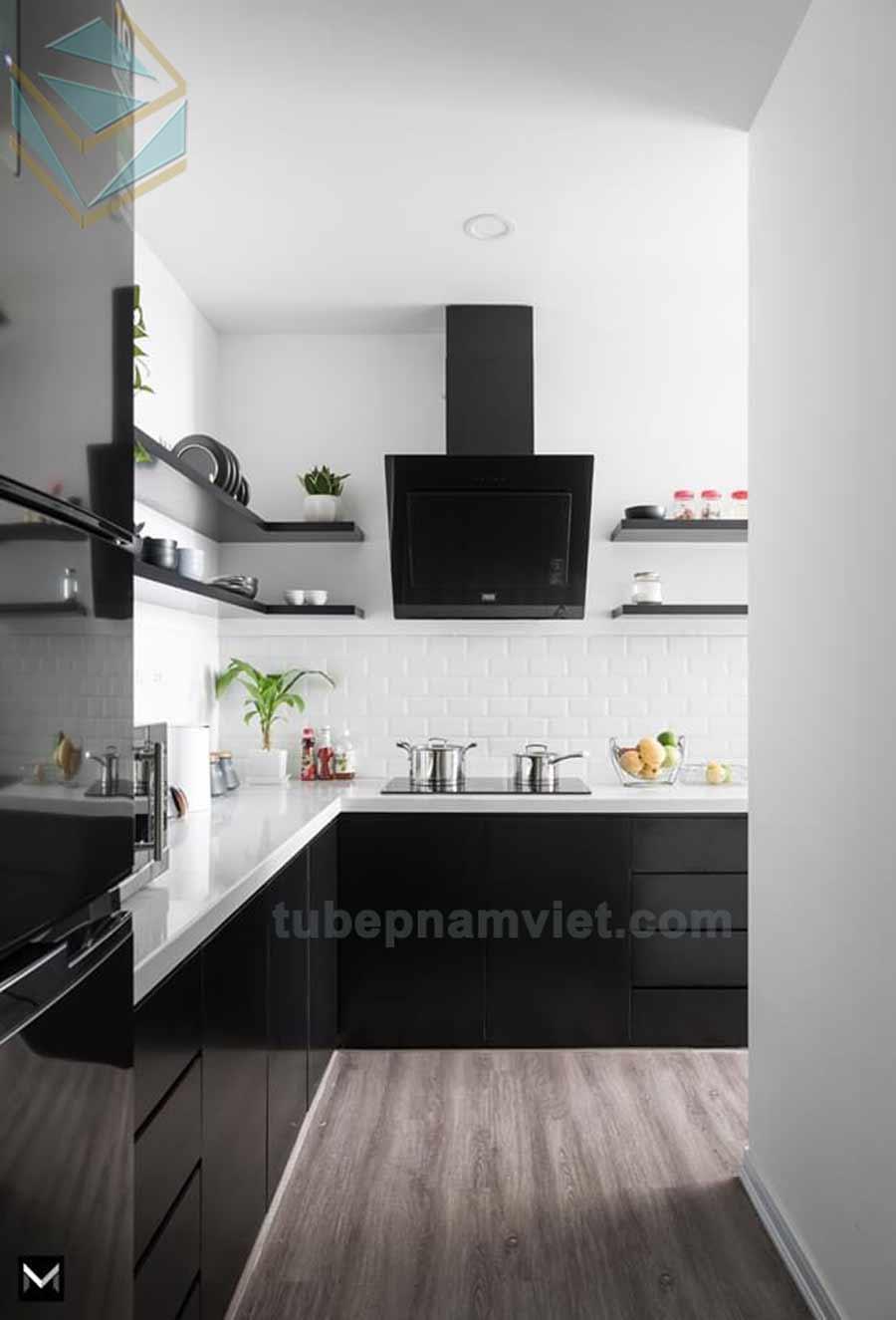 Thiết kế tủ bếp góc đẹp màu đen gỗ Melamine An Cường