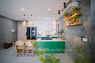 tủ bếp gỗ Tần Bì (ASH) màu xanh lá