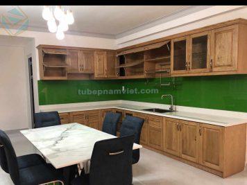 Công trình tủ bếp gỗ Tần Bì đẹp cho nhà phố Bình Dương