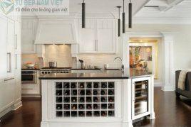 Tủ rượu kết hợp với bàn đảo của nhà bếp
