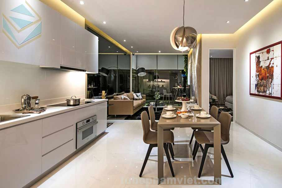 Mẫu thiết kế bếp gỗ công nghiệp Acrylic An Cường rẻ đẹp cho căn hộ cao cấp