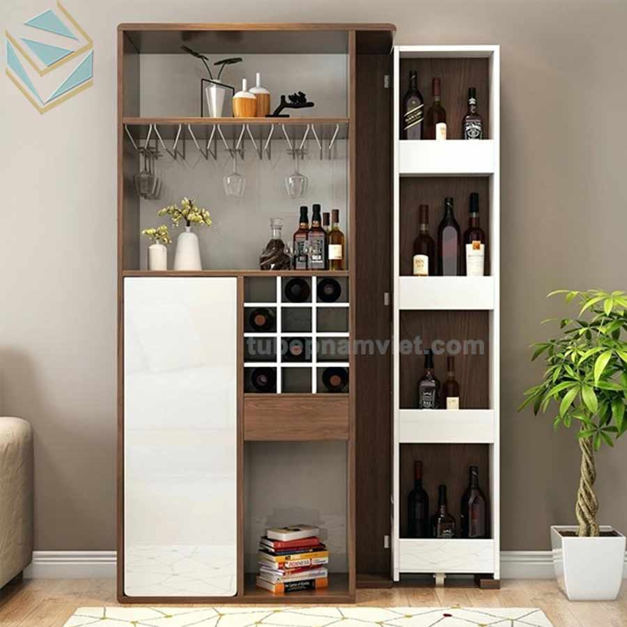 Tủ rượu phòng khách nhỏ gỗ công nghiệp sang trọng