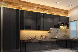 tủ bếp gỗ công nghiệp acrylic bóng gương An Cường màu đen sang trọng