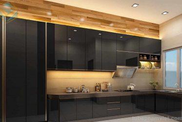 Mẫu tủ bếp gỗ công nghiệp Acrylic bóng gương An Cường màu đen sang trọng