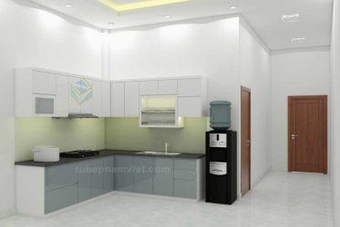 Tủ bếp gỗ Melamine Phạm Văn Chiêu Gò Vấp màu trắng xám nhà AMinh