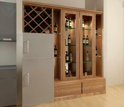 Một mẫu tủ rượu âm tường kiêm trang trí bằng gỗ công nghiệp dành cho phòng khách
