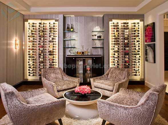 Mẫu tủ trưng bày rượu vang dành cho phòng uống rượu