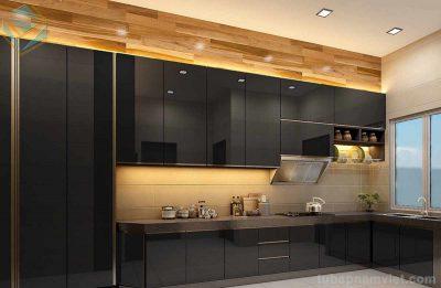 Mẫu tủ bếp gỗ công nghiệp Acrylic bóng gương màu đen sang trọng