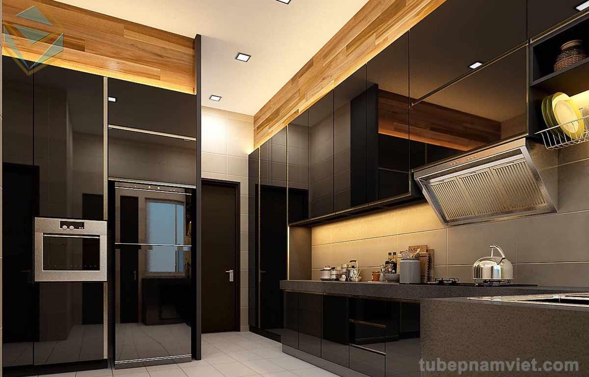 mẫu thi công bếp gỗ Acrylic An Cường đen bóng đẹp sang trọng đẳng cấp