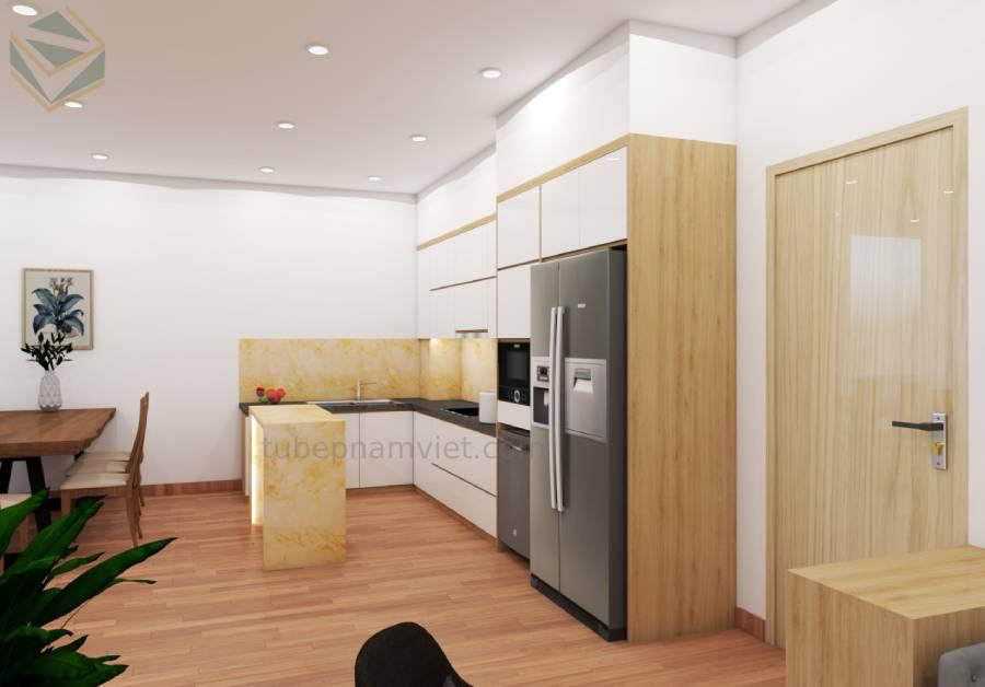 Thiết kế và thi công tủ bếp gỗ Acrylic nhà Anh Tuấn CC Lũy Bán Bích