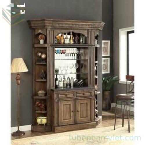 Mẫu tủ gỗ trưng bày rượu bằng gỗ tự nhiên sang trọng tại TPHCM