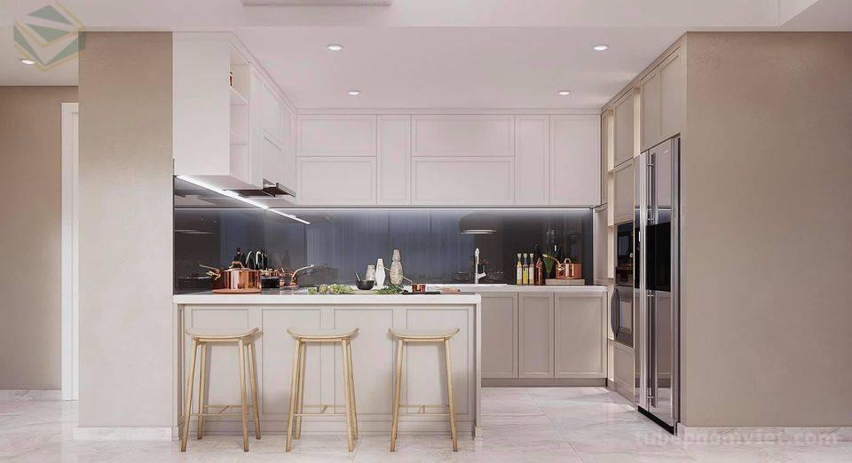 Thiết kế 3D tủ bếp gỗ Sồi Mỹ sơn trắng kèm bàn đảo kiêm bàn ăn