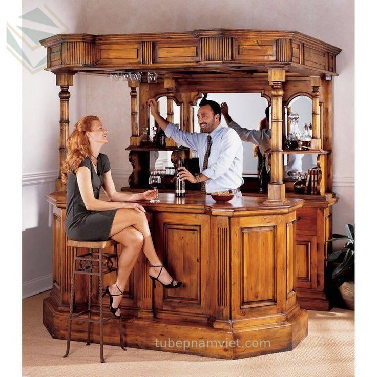 Quầy pha chế rượu gỗ tự nhiên cho quán bar