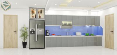 Mẫu thiết kế 3d tủ bếp acrylic mà xám nhạt quận Tân Phú