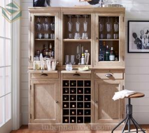 Mẫu tủ rượu gỗ sồi Nga phòng khách đẹp