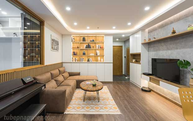 Kệ sách kiêm tủ trưng bày khu vực phòng khách căn hộ Vinhomes