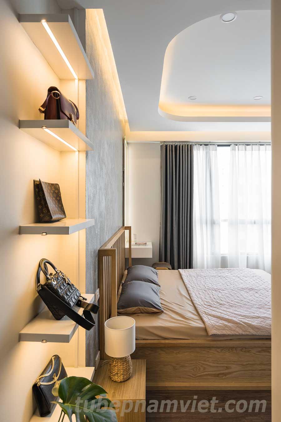 kệ trưng bày túi xách nhỏ gọn cho phòng ngủ căn hộ Vinhomes