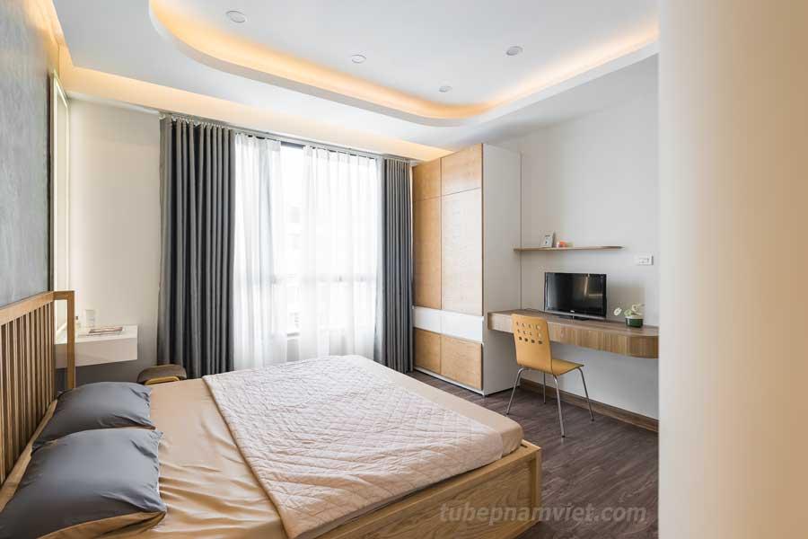 Thiết kế tối giản nhưng hiện đại của phòng ngủ chính căn hộ Vinhomes